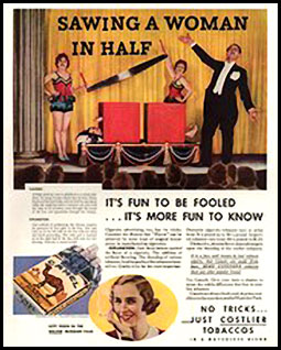 Advertisement featuring the Sawing In Half Illusion