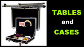 Tables and storage cases for magicians