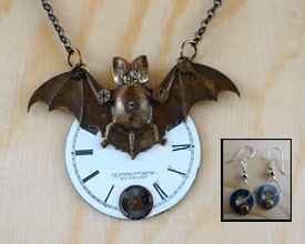 Steampunk Bat Necklace Set