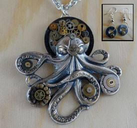 Steampunk Octopus Necklace Set