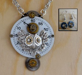 Steampunk Owl Necklace Set