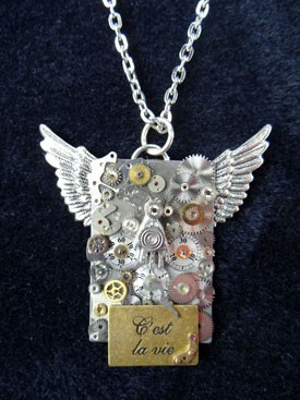 Steampunk Wings Necklace Set