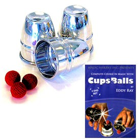 PACKAGE DEAL - Cups and Balls Set (Aluminum) plus Complete Cups and Balls Course DVD Set