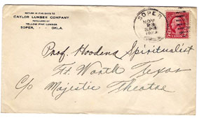 Houdini Envelope to Professor Hoodena