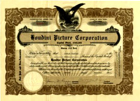 Houdini Picture Corporation stock certificate