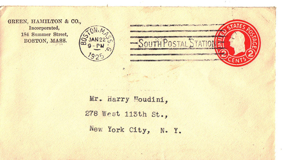 houdini envelope- Green, Hamilton & Co.