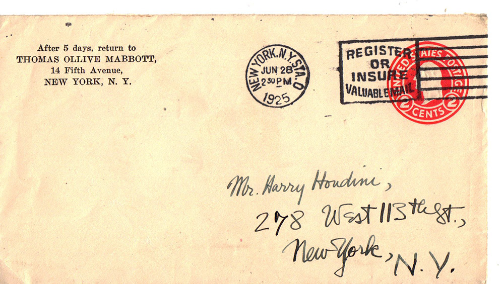 houdini envelope- A.B. Harrington