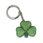 Beaded Lucky Shamrock Keychain