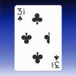 3 1/2 of Clubs Card - BLUE Back
