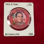 PENN & TELLER Two-Sided Bally's Casino Chip *PREOWNED*