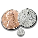 Dime and Penny + Shrinking Dime Coin Trick