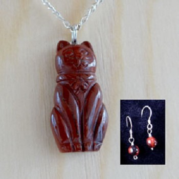 DISCONTINUED Stone Cat Necklace Set