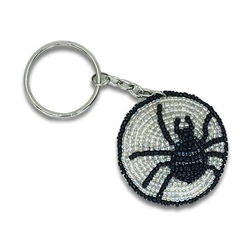 Beaded Spider and Web Keychain