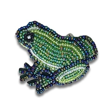 Beaded Frog Pin