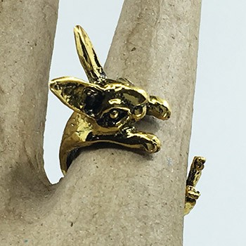 SOLD Bunny Hug Ring - Gold Color
