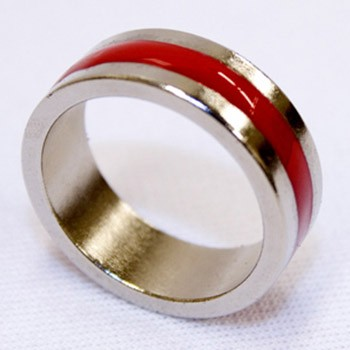 DISCONTINUED PK Ring- Silver and Red Size 9