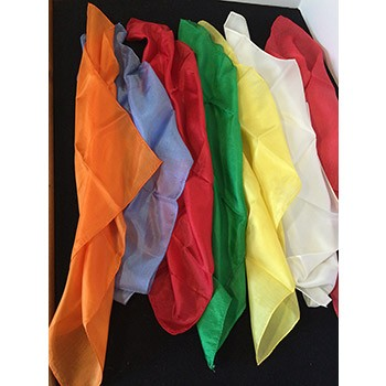 "SOLD Seven 18"" Silks Assortment (Orange, Blue, Green, White, Yellow, 2 Red) - PREOWNED"