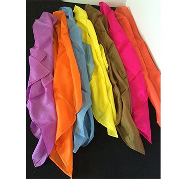 "SOLD Seven 18"" Silks Assortment (Brown, Pink, Purple, Blue, Yellow, 2 Orange) - PREOWNED"
