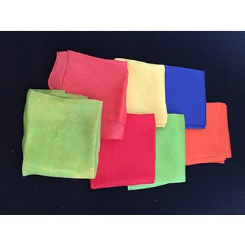"SOLD Seven 18"" Silks Assortment (Orange, Blue, Yellow, 2 Lime, 2 Red) - PREOWNED"