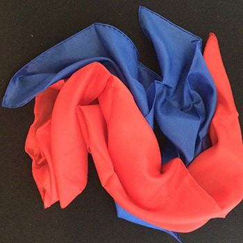 "SOLD Pair Of 24"" Silks- Red, Blue - PREOWNED"